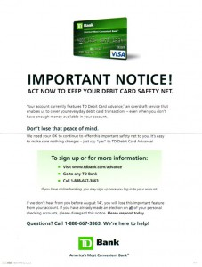 "TD Bank's ad for ""TD Debit Card Advance"""