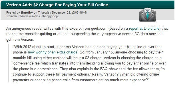 Verizon Adds $2 Charge For Paying Your Bill Online